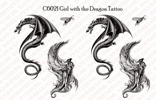 1//6 Scale Decals custom Girl with the Dragon Tattoo waterslide decal