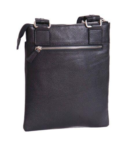 Ipad Casual Crossbody Unisex Travel Bag Messenger Leather Tablet Real Black avWZqgIAww