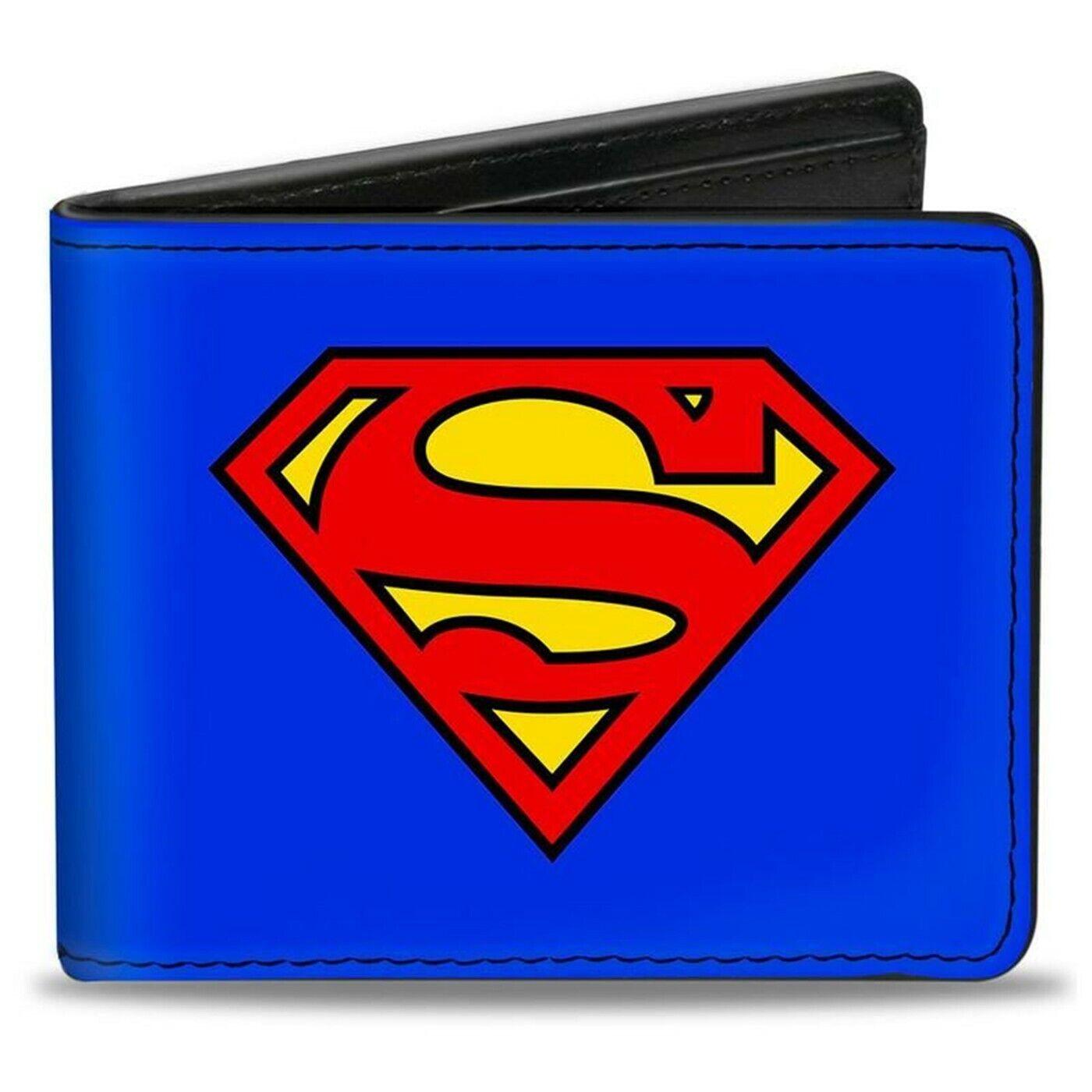 Superman Symbol on Blue Vegan Leather Bi-Fold Wallet Blue