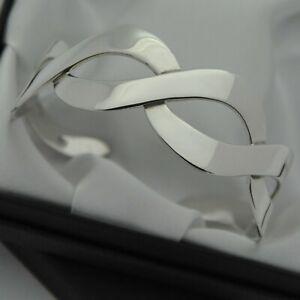 Vintage-Solid-925-Sterling-Silver-Wave-Design-Cuff-Bracelet