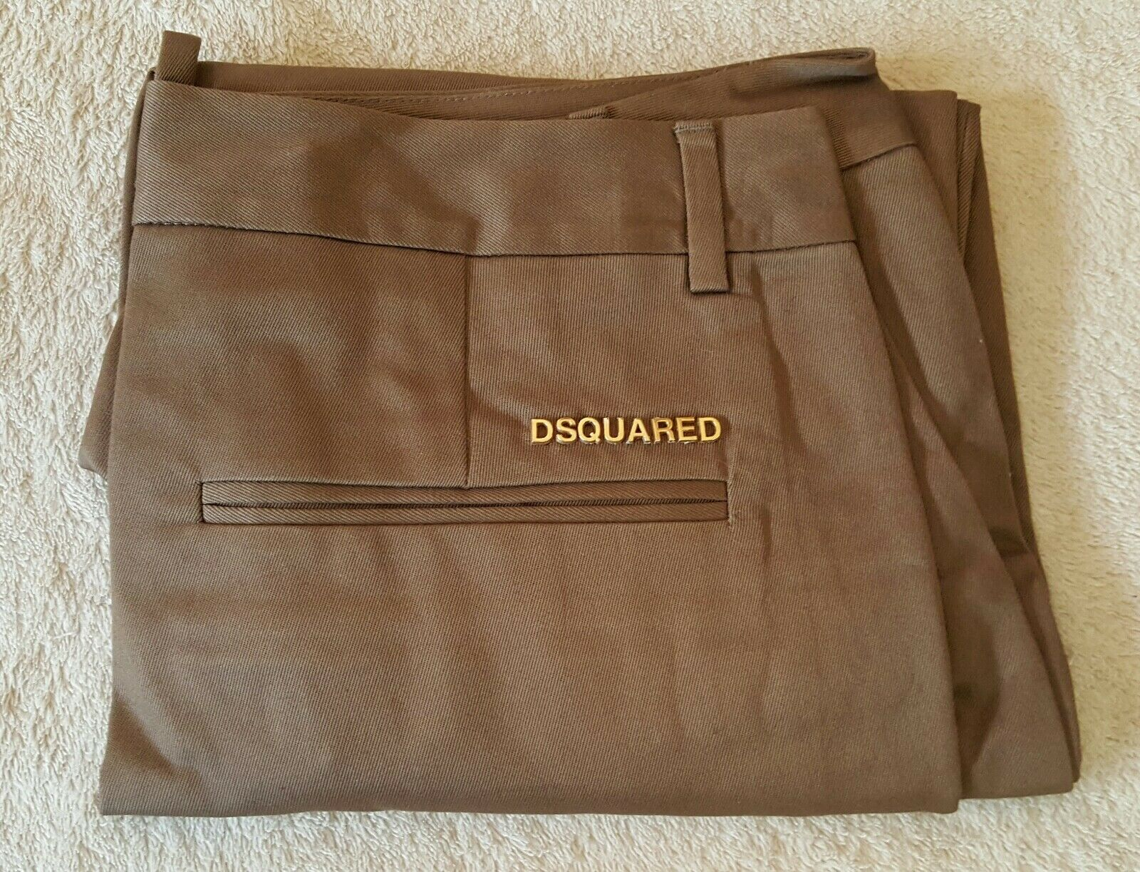 Dsquared Tobacco Brown Trousers Twill Dress Pants 40 IT Cotton Womens