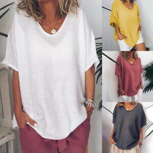 Womens-Short-Sleeve-Cotton-Linen-Loose-Baggy-Tops-Shirts-Summer-Beach-Blouse-Tee