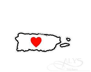 I Love Puerto Rico Island Map Decals & Stickers   eBay