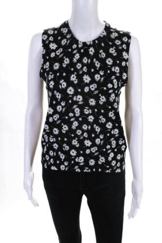 Dolce and Gabbana Womens Floral Knit Crew Neck Tan