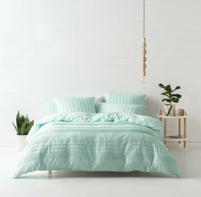 Deco by Linen House Cameron Aqua Single Double Queen King Quilt Cover Set NEW