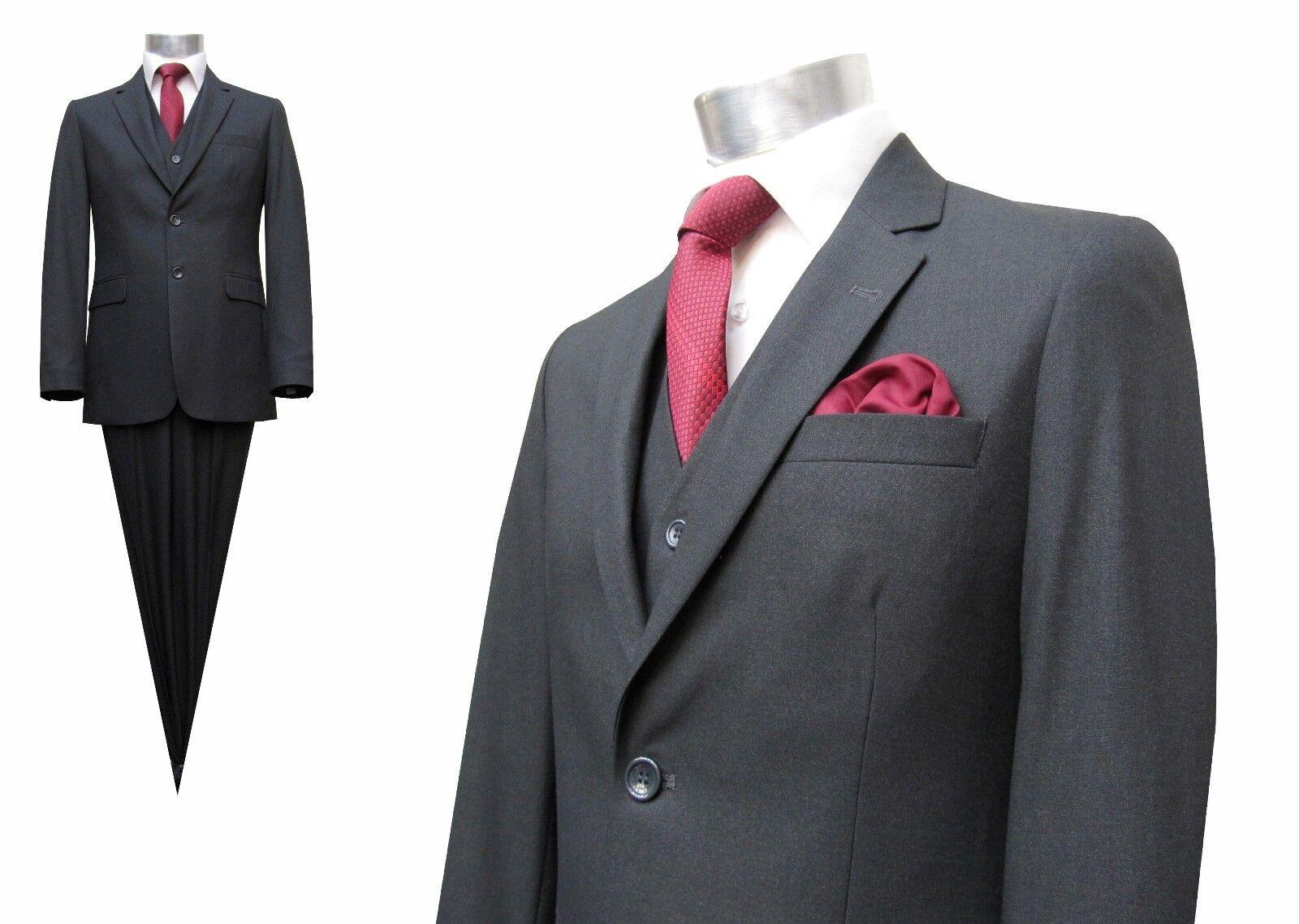 Herren Anzug mit Weste Elegant Gr.36 Dunkelgrau