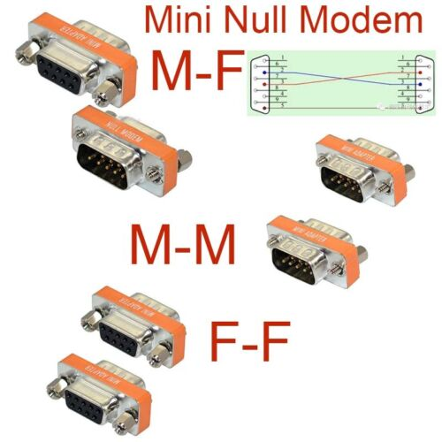 New High Quality Mini Null Modem DB9 Female Male plug Adapter Gender Changer GM