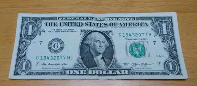 $1 Dollar Bill Series 2013 A Birth Year 1943 Aniversary 76 year