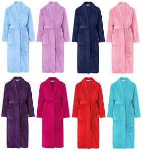 2eb2976c3c862 Image is loading Dressing-Gown-Womens-Wrap-Around-Plain-Soft-Fleece-