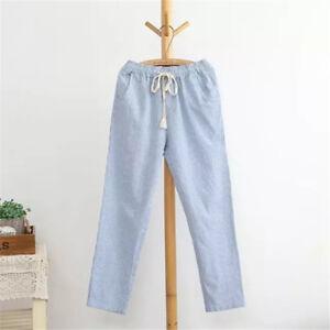 Women-Striped-Comfy-Elastic-Waist-Full-Length-Trousers-Casual-Hemp-Harem-Pants