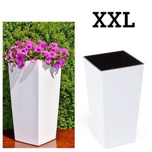 Blumenkübel Hochglanz Rund Blumentopf Übertopf Pflanzkübel XXL H:75cm weiß