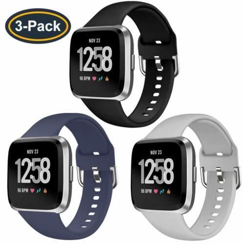 3Pack Bands For Fitbit Versa//Versa Lite,Soft Silicone Breathable Sport Wristband