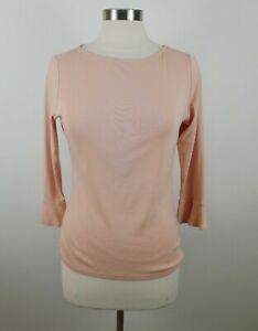 Lauren-Ralph-Lauren-Womens-3-4-Sleeve-Boat-Neck-Blush-Pink-T-Shirt-Blouse-Large