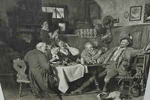 """~1900 Eduard Grützner 1873 """"Jägerlatein"""" 90 x 77 (132 x117) Büttenpapier - Deutschland - ~1900 Eduard Grützner 1873 """"Jägerlatein"""" 90 x 77 (132 x117) Büttenpapier - Deutschland"""
