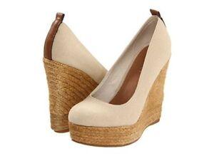 83b2681ba16 Details about NEW Sz 40, 10 ALDO 'Drewel' Espadrilles Platform Wedge Shoes  Natural Nude Canvas