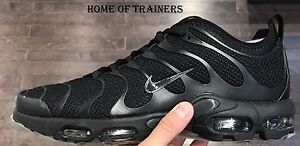 Details about NIKE AIR MAX PLUS TN ULTRA TRIPLE BLACK MEN'S TRAINERS ALL SIZES