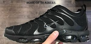 e0bd481a8 NIKE AIR MAX PLUS TN ULTRA TRIPLE BLACK MEN'S TRAINERS ALL SIZES | eBay