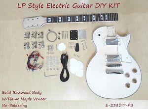 Haze Solid Body Electric Guitar DIY,No-Soldering,Flame Maple Veneer E-238DIY PB