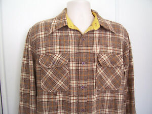 JC-Penny-Mens-Vintage-Virgin-Wool-Flannel-Shirt-Long-Sleeve-Plaid-Sz-L-16-16-5