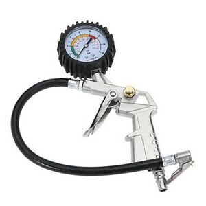 Dial Tire Inflator Gauge Flexible Hose 220 PSI Pistol Style Air Chuck Pneumatic