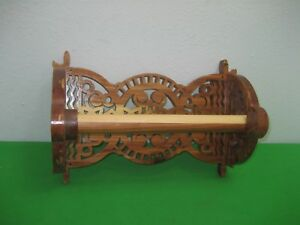 Details About Ornate Scroll Saw Hand Made Dark Brown Wood Wall Paper Towel Holder
