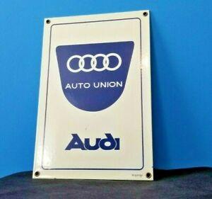 VINTAGE-AUDI-AUTOMOBILE-PORCELAIN-GAS-AUTO-DEALER-GERMAN-VW-SERVICE-STATION-SIGN