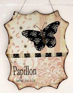 Nostalgie-Blechschild-Papillon-Schmetterling-Schild-Blech-beige-rosa-lachs
