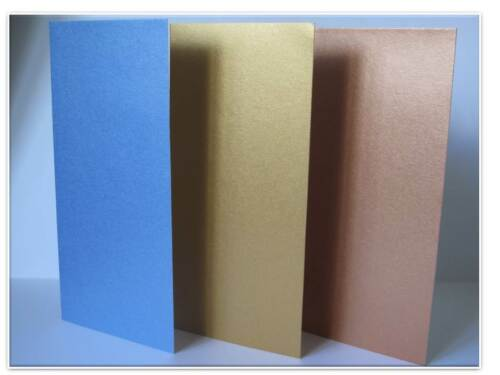 10 x Greeting Cards Blank DL 100x210mm Pearlescent Single Fold Slimline /& Env