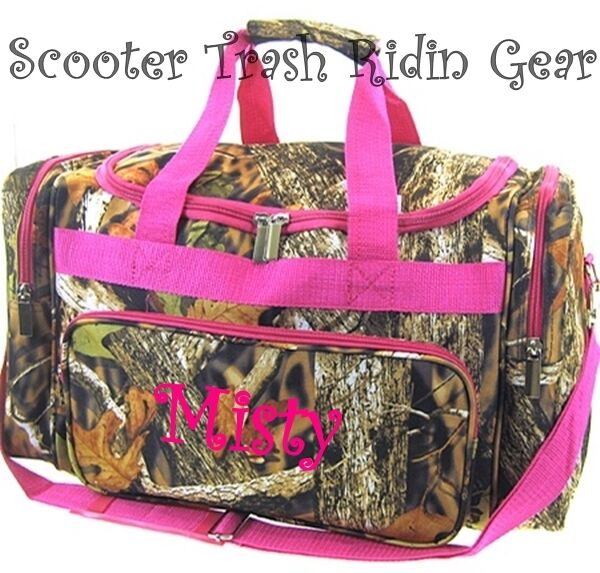 """PERSONALIZED 19"""" duffle bag tote camo mossy tree camouflage real oak PINK trim"""