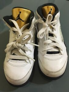 c27b49a3221a Air Jordan 5 Retro BT Toddler s Shoes White Black Metallic Gold ...