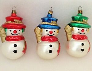 Vntg Set Of 3 Blown Glass Handpainted Snowman Christmas Ornament Germany Poland Ebay