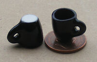 1:12 Black Coffee Mugs (2) Dolls House Miniature Ceramic Accessory Tapered Sds