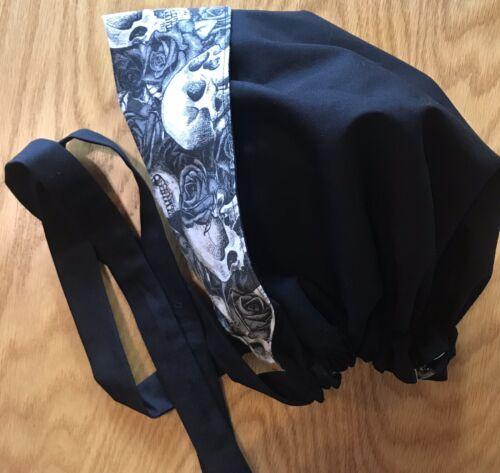 Details about  /Ponytail Surgical ScrubCap~Ladies Reversible Handmade-Black~Grey~Halloween~Skull