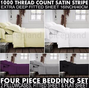 1000-TC-Luxury-100-Egyptian-Cotton-Fitted-Flat-Sheets-Pillowcases-Satin-Stripe