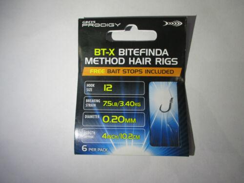 Greys Prodigy BT-X Bitefinda Hair Rigs 6 Per Pack