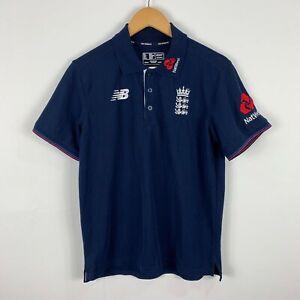New-Balance-England-Cricket-Polo-Shirt-Size-S-Navy-Blue-Short-Sleeve-Collared