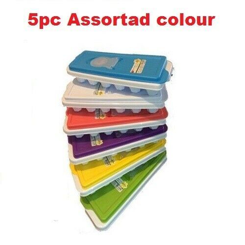 5PC ICE CUBE Trays with Lid Assorted Colour