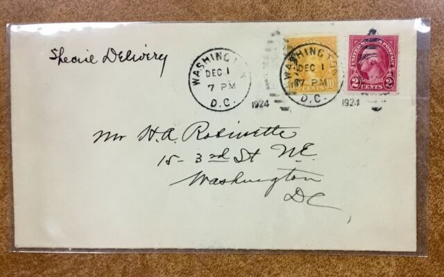 {BJ STAMPS} US 603 10c coil 1924 FDC 12/1/24 special delivery