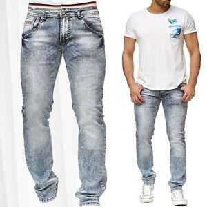 Herren-Jeans-Hose-Dehnbund-Stretch-Bleached-Vintage-Denim-Kontrast-Naht