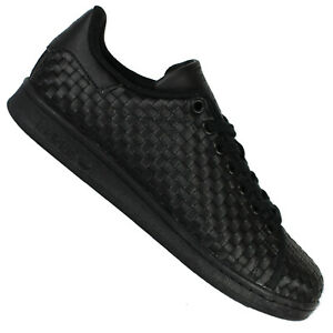 Details zu adidas Originals Stan Smith Damen Sneaker Woven Turnschuhe Triple Black Schwarz