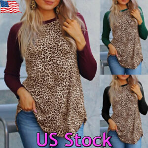 0e9a49a0bcd9 Image is loading Women-Leopard-Print-Long-Sleeve-Loose-Casual-Pullover-