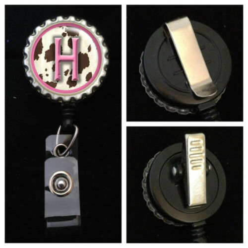 Pink Cow Monogrammed Retractable ID Badge Reel