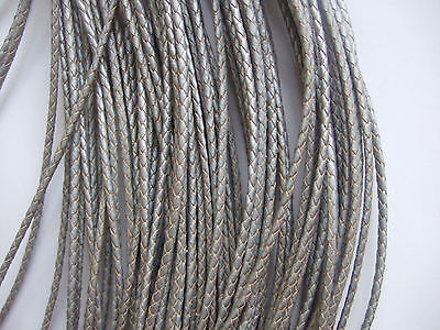 3mm Silver Round Braid Genuine Leather Cord for Jewelry Necklace Bracelet Making