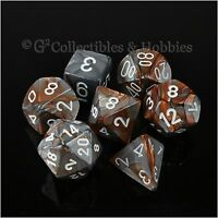 7pc Set Copper Steel Grey Gemini Rpg Game Dice In Box D&d Chessex D4 D20 +