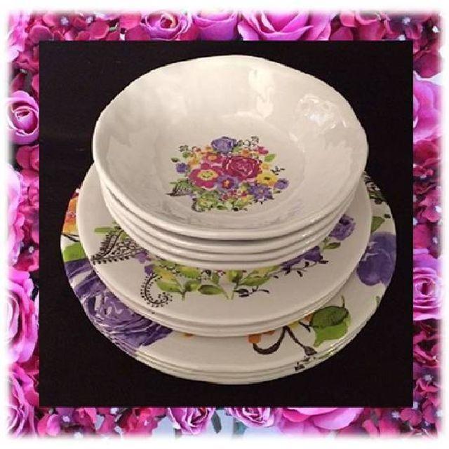 Prix réduit Cynthia Rowley Mélamine Floral Rose Dinnerware 12 Pc Set Free Ship