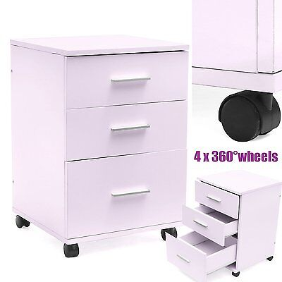 White Chest of 3 Drawers Draws Bedroom Furniture Hallway Storage Bedside Table