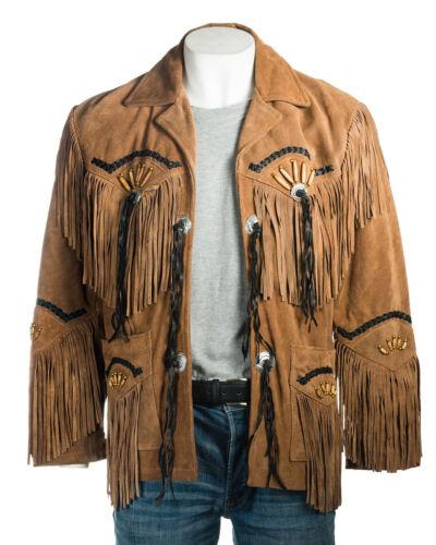 Wear Beads Native Leather Western Coat Suede Tan Mens American Jacket Fringe amp; gBRBvq