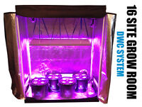 16 Site Hydroponic System Grow Room - Complete Grow Tent Kit - Led Grow Lights