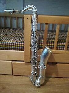 Antique-Plaque-Argent-Saxophone-Tenor-034-LE-POPULAIRE-034-1930-S