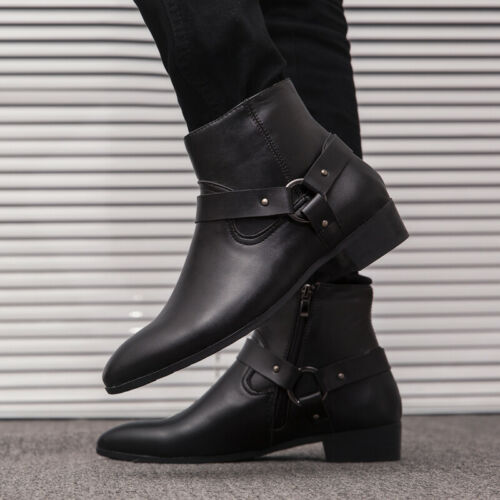 Retro Mens Black Faux Leather Ankle Boots Shoes Business Formal Chukka Zip New L
